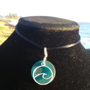 Teal Sea Glass Ocean Wave Necklace